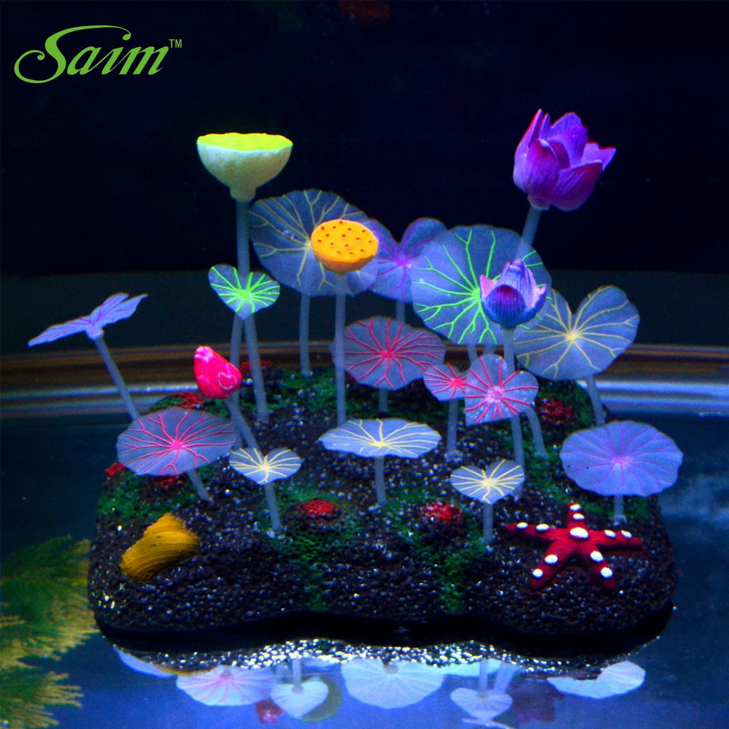 Glow in the dark aquarium decorations plants ornaments for Aquarium decoration ornaments